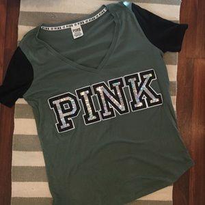 NWOT PINK Victoria's Secret Green Vneck Sparkles